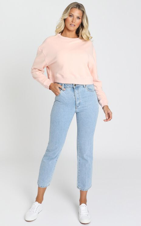 AS Colour - Crop Crew in Pale Pink