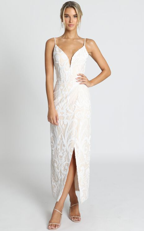 This Is Love Gown In White Sequin
