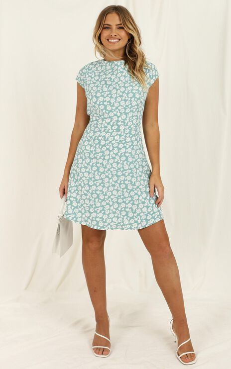 The Era Of Love Dress In Mint Floral