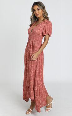 Claudia Midi Dress in rust spot