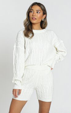 Olivia Cable Knit Two Piece Set In Ivory