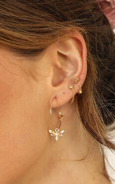 Honey Bee Charm Earrings In Gold