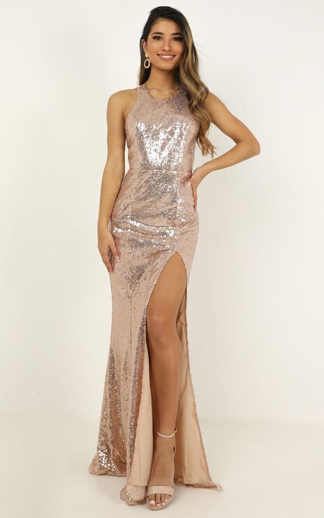 About The Drama Dress In Champagne Sequin