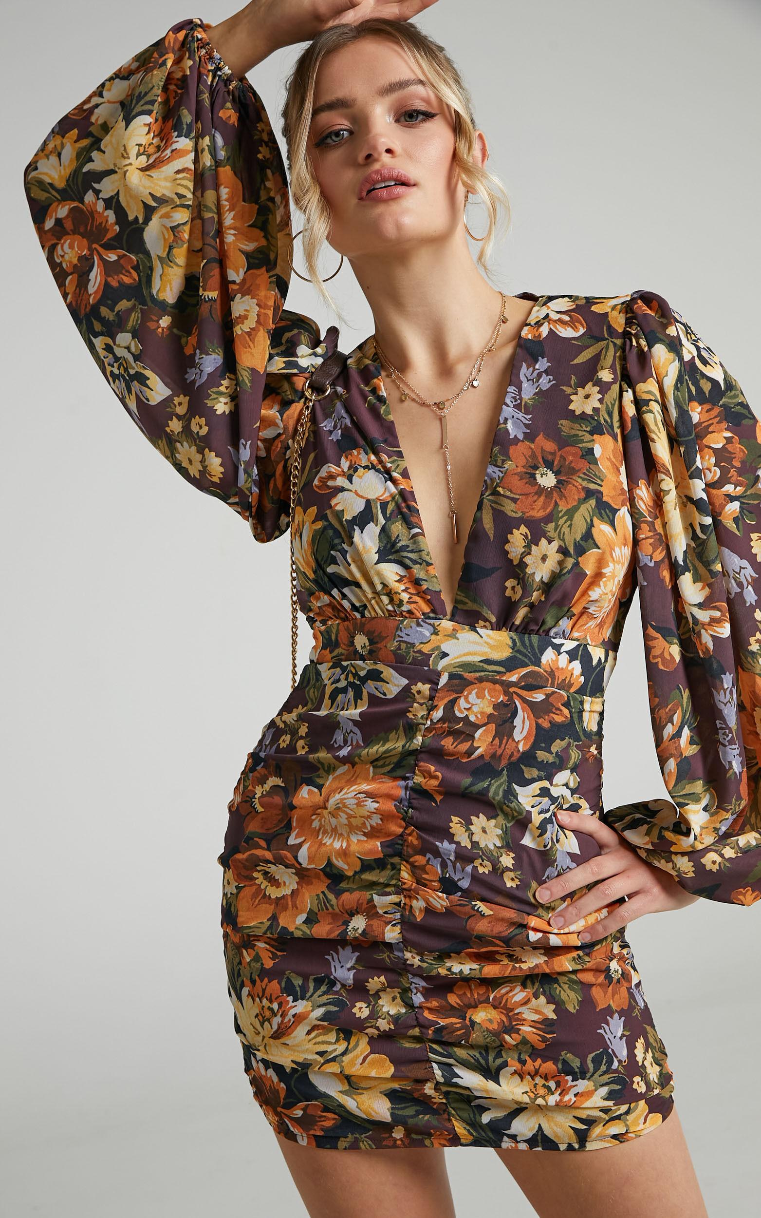Latiana Ruched Plunge Neck Mini dress in Indulgent Bloom - 04, BRN1, super-hi-res image number null