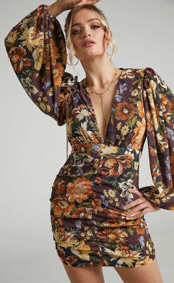 Latiana Ruched Plunge Neck Mini dress in Indulgent Bloom