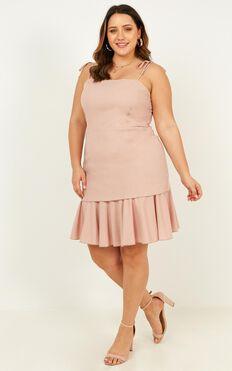 Sweetest Sin Dress In Blush Linen Look