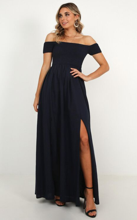 Game Changing Maxi Dress In Navy Linen Look