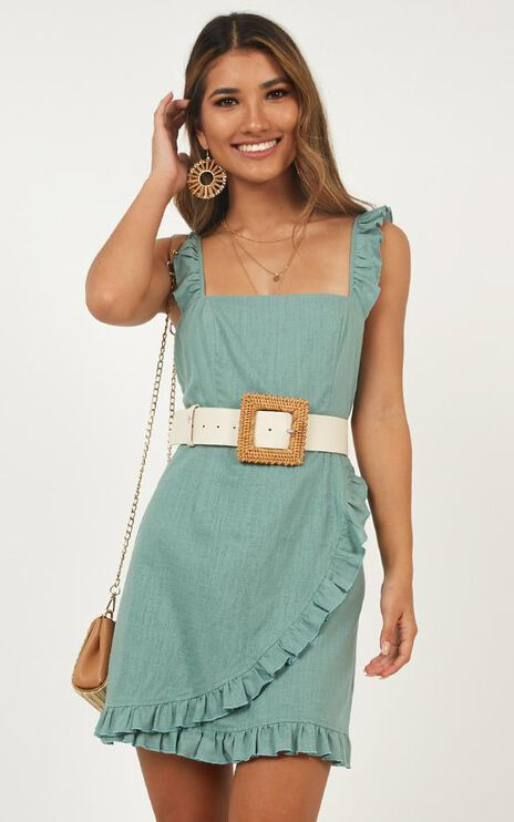 Call It Out Dress In Sage Linen Look