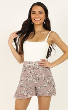 Flower Blossom Shorts In Mauve Floral
