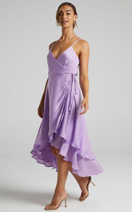 Between Fantasy Dress In Lilac Satin
