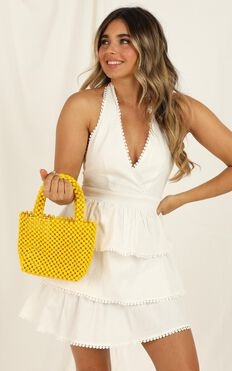 Tired Of Talking Beaded Bag In Yellow