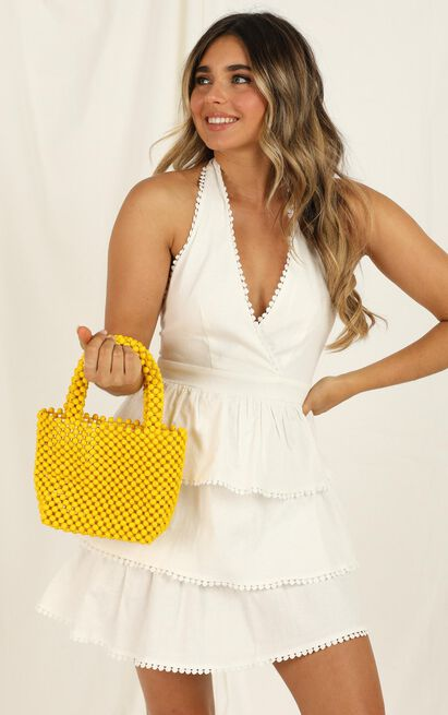 Tired Of Talking Beaded Bag In Yellow, , hi-res image number null