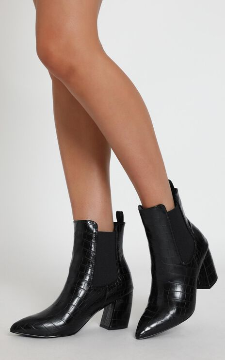 Therapy - Steele Boots In Black Croc