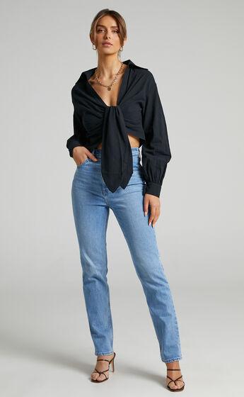 Hanes Longsleeve Drape Shirt in Black