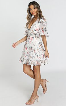 My Darkest Night Dress In White Floral