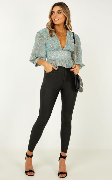 Never As Easy Top In Teal Floral