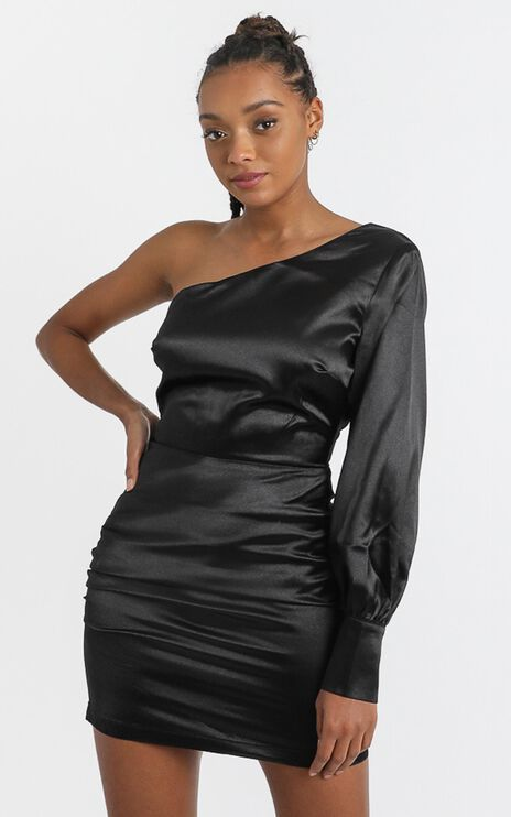 Eve One Shoulder Mini dress in black satin