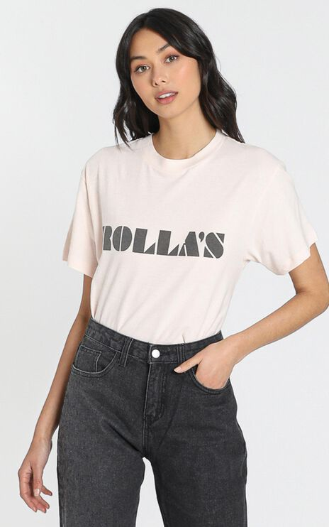 Rollas x Sofia Richie - Tomboy Logo Tee in Soft Pink