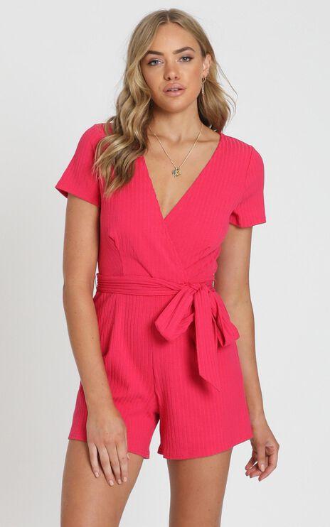 Star Gal Playsuit In Hot Pink Rib
