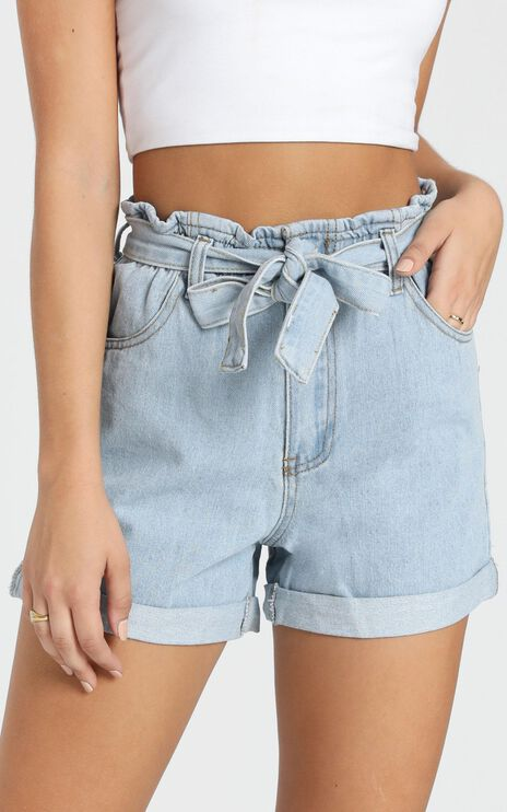 Another Language Shorts In Light Blue Denim