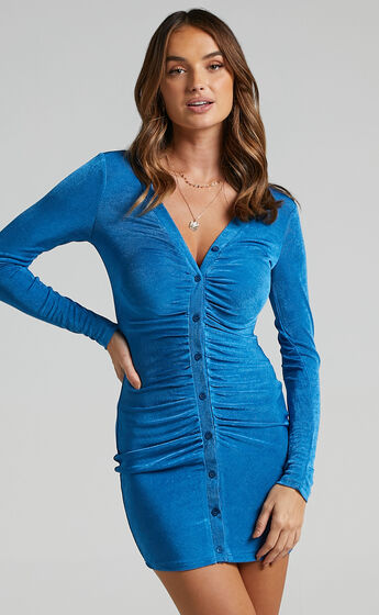 Shanti Ruched Button Front Mini Dress in Cobalt
