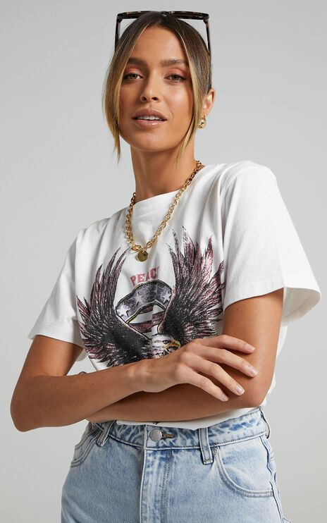 The People Vs - United Eagle Tee in Vintage White