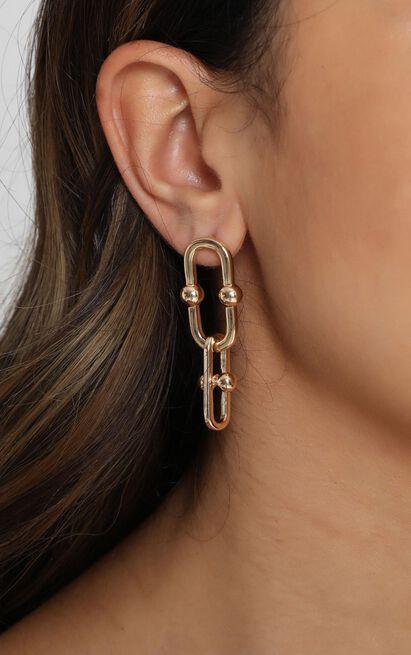 Love Stories Hoop Earrings In Gold, , hi-res image number null
