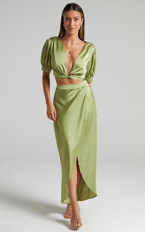 Salacia Skirt in Olive Satin