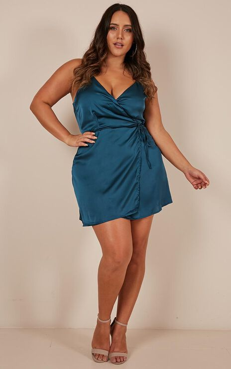 Pretty Little Lies Playsuit In Teal Satin