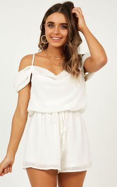 Up In The Air Playsuit In White