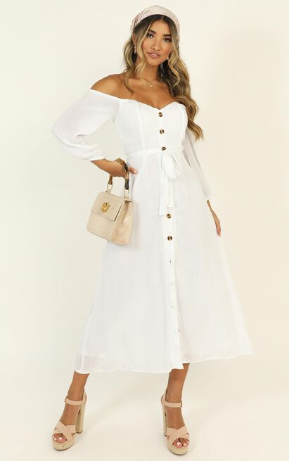 Sorrento Dreaming Dress in white linen look - 20 (XXXXL), White, hi-res image number null
