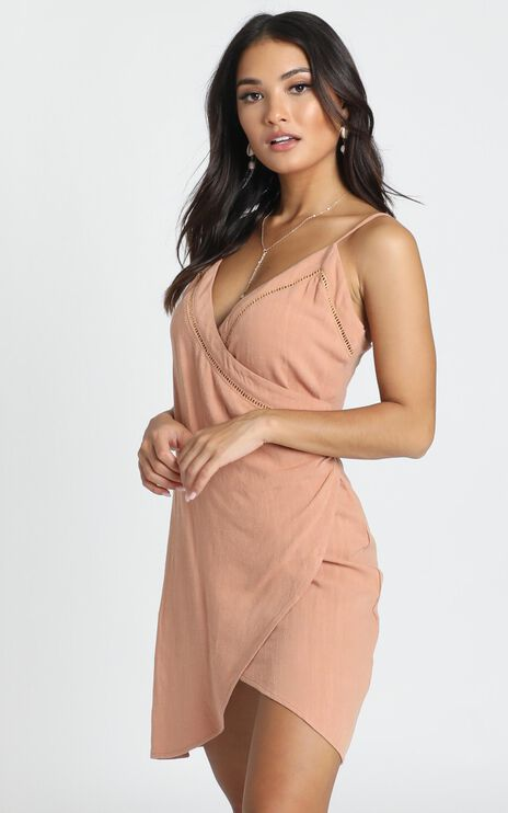 Christy Trim Detail Mini Dress In Rust Linen Look