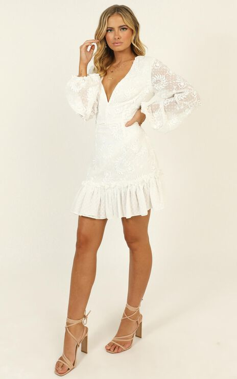 Lets Cheers For Love Dress In White Embroidery