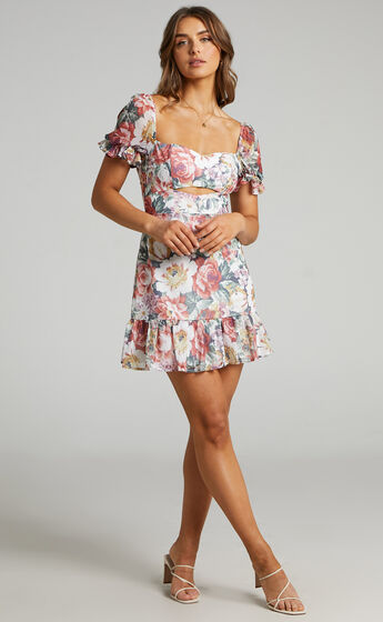 Darah Mini Dress with Ruffle Hem and Sleeves in Heritage Floral