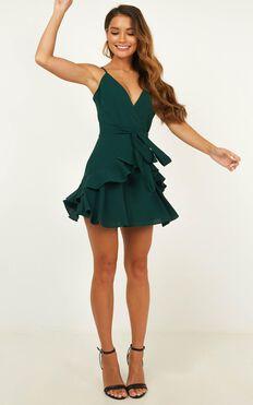 Feels Like Love Dress In Forest Green