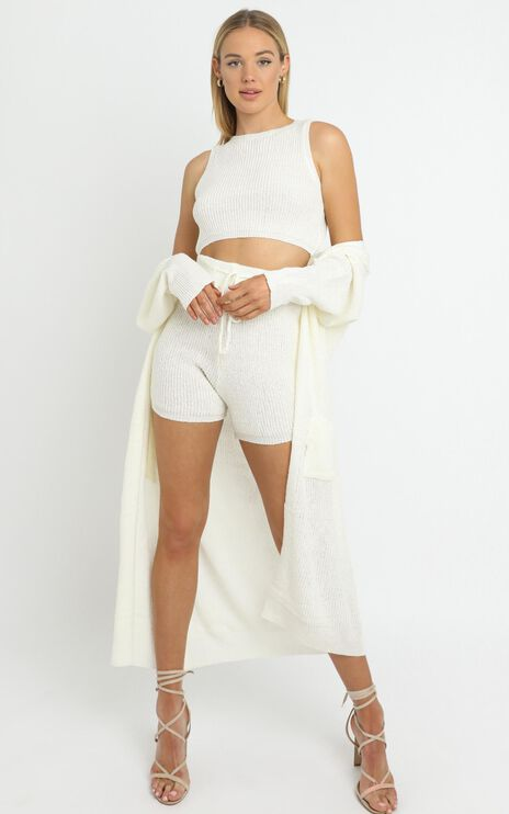 Saffron Knit Three Piece Set in White