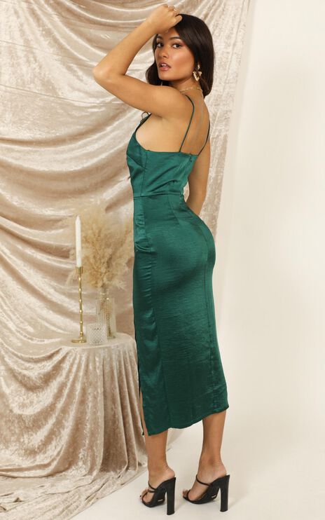 Shake The World Dress In Emerald Green Satin