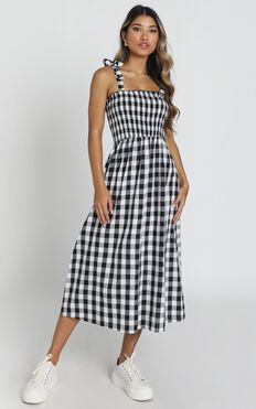 European Love Dress In Black And White Check