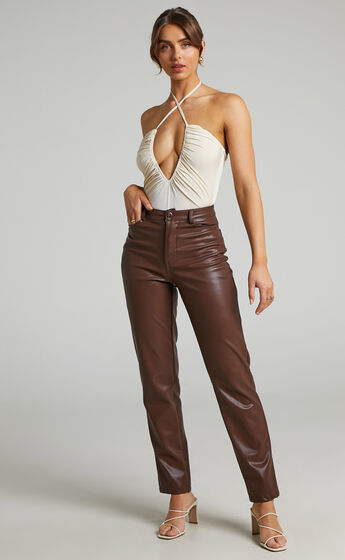 Victorie Plunge Neck Ruched Bodysuit in Cream