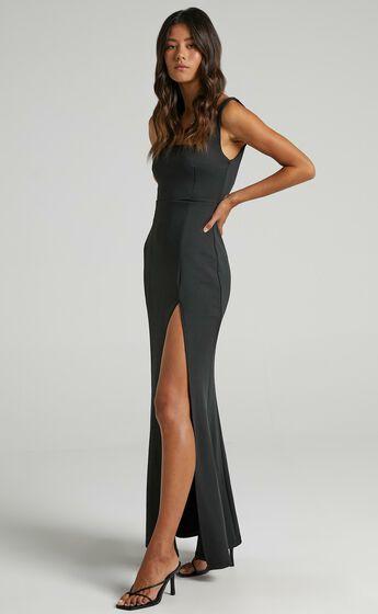 Raquelle Square Neck Thigh Split Maxi Dress in Black