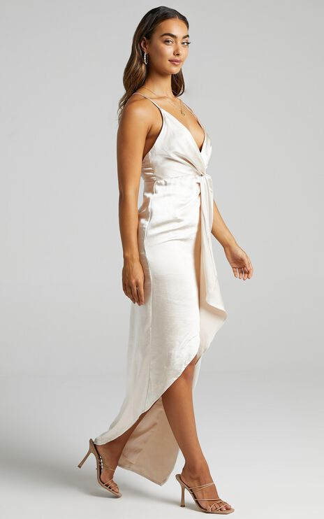 Jayne Twist Front Maxi Dress in Champagne Satin