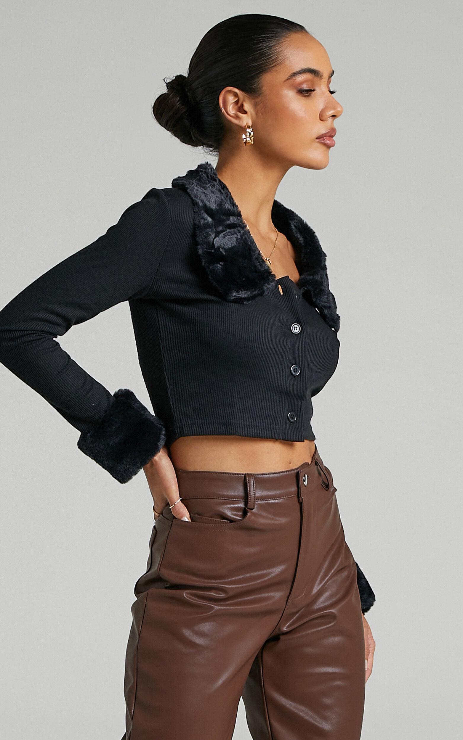 Flynne Cardigan in Black Faux Fur - L, BLK1, super-hi-res image number null