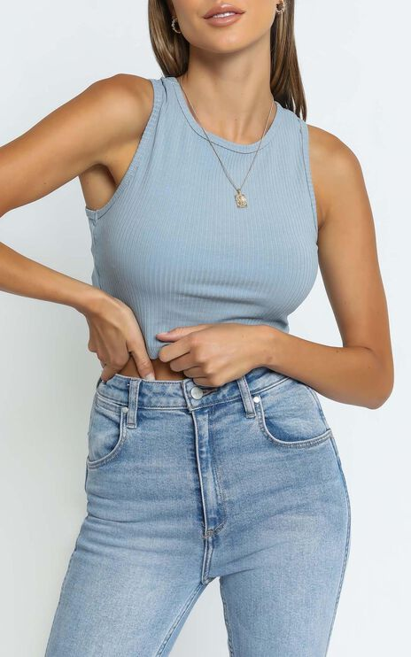 Lioness - Out Of Reach Crop Top in Dusty Blue