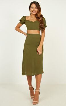 Standard Day Two Piece Set In Khaki