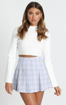 Cher Pleated Mini Skirt In Blue Check