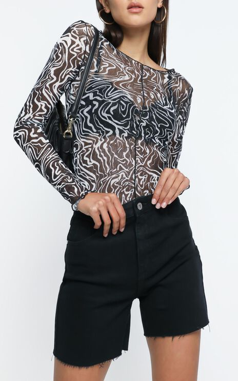 Hackney Top in Black Print