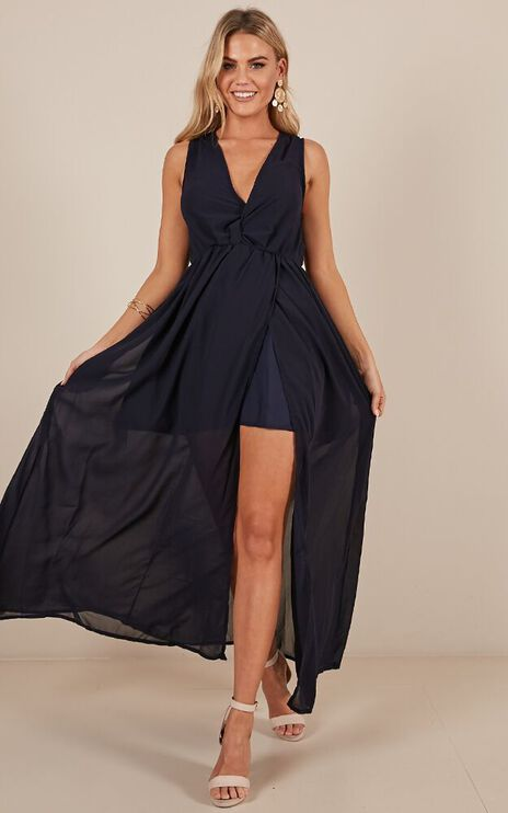 Melt Your Heart Maxi Dress In Navy