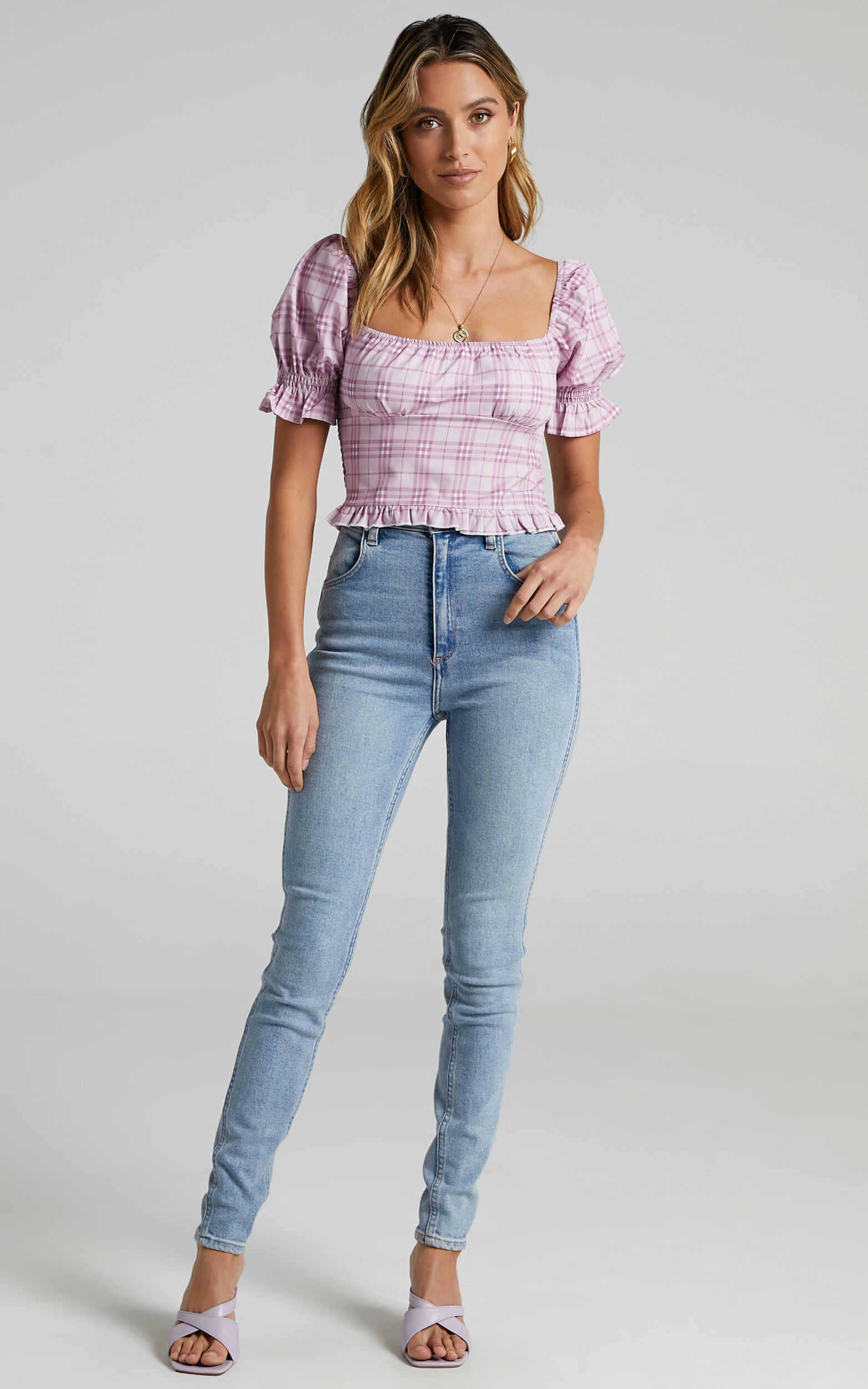 Marianna Top in Pink Check - 08, PNK1, super-hi-res image number null