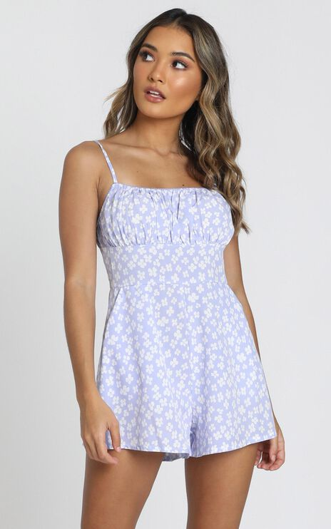 Sorbie Strappy Playsuit in blue floral