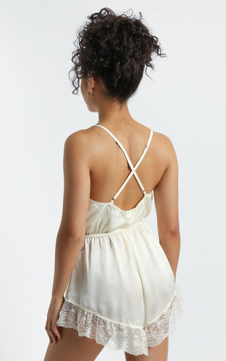 Night After Night Romper in Ivory Satin